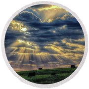 Round Beach Towel featuring the photograph Holy Cow by Fiskr Larsen