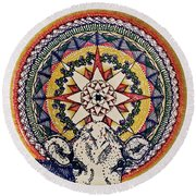 Round Beach Towel featuring the painting Holy Cow by Kym Nicolas