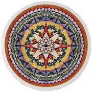 Round Beach Towel featuring the painting Holy Cow Star by Kym Nicolas