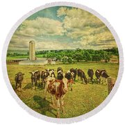 Holy Cows Round Beach Towel by Lewis Mann