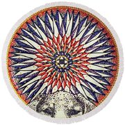 Round Beach Towel featuring the painting Holy Dog by Kym Nicolas
