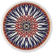Round Beach Towel featuring the painting Holy Dog Star by Kym Nicolas