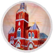 Holy Family Church Round Beach Towel