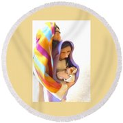 Holy Family Round Beach Towel