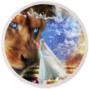 Round Beach Towel featuring the digital art  Divine Perspective by Dolores Develde