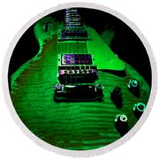 Round Beach Towel featuring the photograph Holy Grail 1959 Retro Relic Guitar by Guitar Wacky