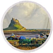 Holy Island And Lindisfarne Castle Round Beach Towel