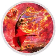 Holy Spirit Fire Round Beach Towel by Dolores Develde