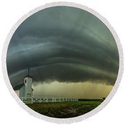 Round Beach Towel featuring the photograph Holy Supercell  by Aaron J Groen