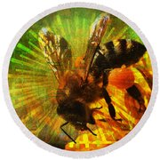 Homage To A Bee 2015 Round Beach Towel