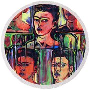 Homage To Frida Kahlo Round Beach Towel