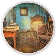 Homage To Van Gogh's Room Round Beach Towel