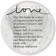 Home Blessing Rustic- Art By Linda Woods Round Beach Towel