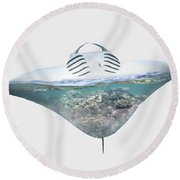 Home IIi - Manta Ray, Coral Bay Round Beach Towel