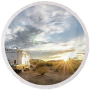 Round Beach Towel featuring the photograph Home In The Desert by Margaret Pitcher