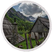 Round Beach Towel featuring the photograph Home In The Slovenian Alps #2 by Stuart Litoff
