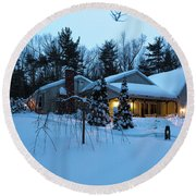 Home In Winter Round Beach Towel
