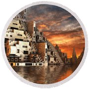Home Of The Ancients Round Beach Towel by Hal Tenny