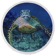 Round Beach Towel featuring the painting Home Of The Honu by Darice Machel McGuire