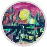Round Beach Towel featuring the painting Home On The Range by Betty Pieper