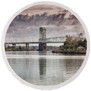 Round Beach Towel featuring the photograph Cape Fear Crossing by Phil Mancuso