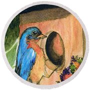 Round Beach Towel featuring the painting Home Sweet Home by Gail Kirtz