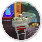 Home Sweet Home Painting Round Beach Towel