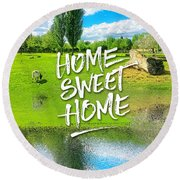 Home Sweet Home Pastoral Versailles Chateau Country Landscape Round Beach Towel