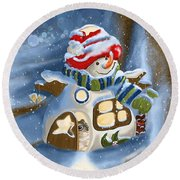 Round Beach Towel featuring the painting Home Sweet Home by Veronica Minozzi
