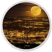 Home Sweet Hometown Bathed In The Glow Of The Super Moon  Round Beach Towel by Bijan Pirnia