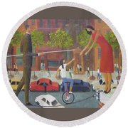 Round Beach Towel featuring the painting Homecoming by Glenn Quist