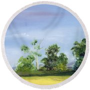 Round Beach Towel featuring the painting Homestead by Jane Autry