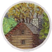 Homestead Round Beach Towel by Laurie Morgan