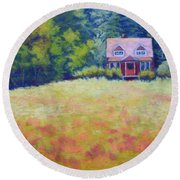 Round Beach Towel featuring the painting Homestead by Nancy Jolley