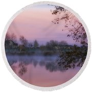 Round Beach Towel featuring the photograph Hometown Sunrise by Lynn Hopwood