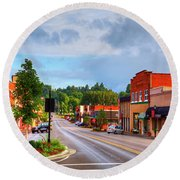 Hometown America Round Beach Towel by Dale R Carlson