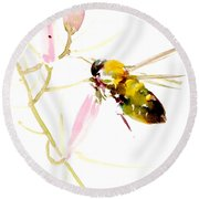 Honey Bee And Pink Flower Round Beach Towel by Suren Nersisyan
