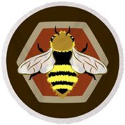 Honey Bee Graphic Round Beach Towel by MM Anderson