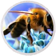 Honey Bee In Interior Design Thick Paint Round Beach Towel