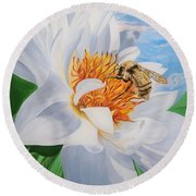 Honey Bee On White Flower Round Beach Towel