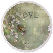Honey Love Round Beach Towel by Victoria Harrington