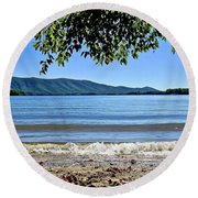 Honey Suckel Cove, Smith Mountain Lake Round Beach Towel