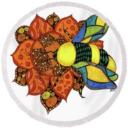 Honeybee On A Flower Round Beach Towel