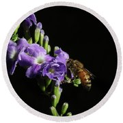 Round Beach Towel featuring the photograph Honeybee On Golden Dewdrop by Richard Rizzo