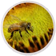 Round Beach Towel featuring the photograph Honeybee On Sunflower by Chris Berry