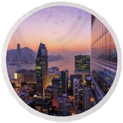 Hong Kong Aerial By Night Round Beach Towel