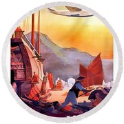 Hong Kong, Airline Travel Poster Round Beach Towel