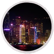 Round Beach Towel featuring the photograph Hong Kong At Night by Lynn Bolt