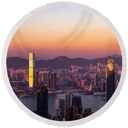 Hong Kong At Sunrise Stories From The Road Series 002 Round Beach Towel
