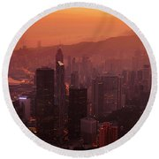 Hong Kong City View From Victoria Peak Round Beach Towel